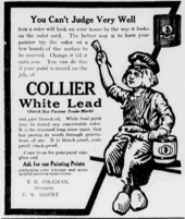 """A promotional poster for """"COLLIER White Lead"""" (these words are highlighted) featuring a large image of a boy"""