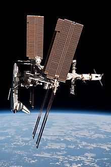 The Space Shuttle Endeavour docked with the International Space Station