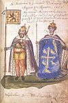 Malcolm III and Queen Margaret from the Seton Armorial, 1591.jpg