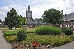 Begijnhof and the tower of the Church of Our Lady