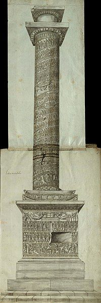 Side view of the Column of Arcadius, with carved reliefs of scenes and figures on the pedestal, on the socle and spiralling up the column shaft, capped by a capital and a statue's empty plinth