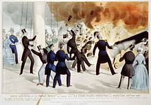 """Historical illustration of the Princeton cannon explosion, with dozens of guests aboard. Caption reads """"Awful explosion of the Peace-Maker on board the U.S. steam frigate Princeton""""."""
