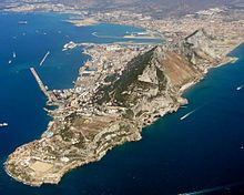 Aerial view of Gibraltar from the south—east looking north—west towards the town