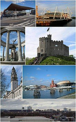 Clockwise from top left: The Senedd building, Principality Stadium, Norman keep, Cardiff Bay, Cardiff City Centre, City Hall clock tower, Welsh National War Memorial
