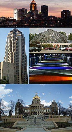 从上至下顺时针分别是801 Grand(美国信安金融集团总部)、Des Moines Botanical Center、Kruidenier Trail bridge与艾奥瓦州议会大厦