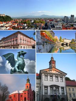 逆时针:方济各会教堂和卢布尔雅那城堡、议会广场上的Casino Building、龙桥、Visitation of Mary Church、卢布尔雅那市政厅、卢布尔雅尼察河与远处的三桥