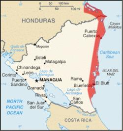 莫斯基托斯海岸 Costa de Mosquitos的位置