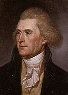 Formal portrait of Thomas Jefferson, part of a dual image of Jefferson and Hamilton