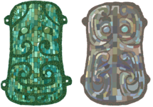 两件绿松石镶嵌青铜兽面牌饰(1981、84年河南偃师二里头出土)