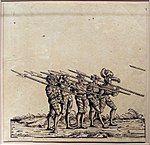 Hans burgkmair il vecchio, spadaccini con alabarde, dalla serie della processione trionfale di massimiliano I, 1526 (ristampa del 1796).jpg