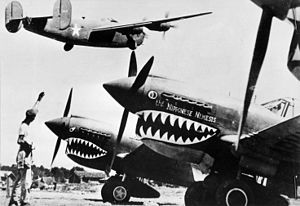 Liberator bomber crosses the P-40 fighter planes.jpg