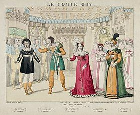 coloured drawing of leading operatic players in costume