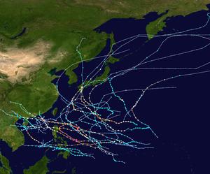 1954 Pacific typhoon season summary map.png