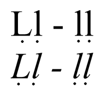 Italicized and non-italicized upper- and lowercase Ḷ