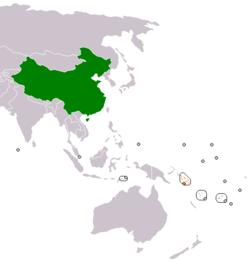 China和Solomon Islands 在世界的位置