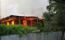 One-story house on fire