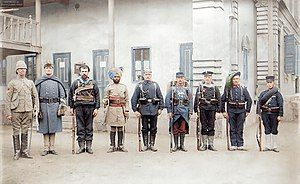 Troops of the Eight-Nation Alliance (except Russia) that fought against the Boxer Rebellion in China, 1900. From the left Britain, United States, Australia, India, Germany, France, Austria-Hungary, Italy, Japan. (49652330563).jpg