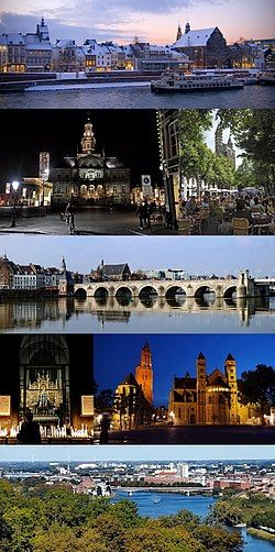 From top to bottom, left to right: river Meuse in winter · Town Hall by night · sidewalk cafés at Onze Lieve Vrouweplein · Saint Servatius Bridge · Our Lady, Star of the Sea chapel · St. John's and St. Servatius' churches at Vrijthof square · View from Mount Saint Peter