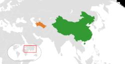 中国和土库曼斯坦在世界的位置