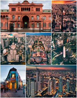 从上方,从左到右:阿根廷总统府、市中心、卡瓦纳大厦、阿根廷国会宫及国会广场、布宜诺斯艾利斯方尖碑、拉博卡、马德罗港