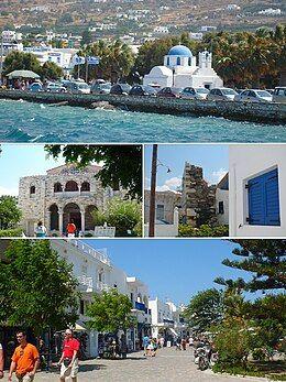 从上到下从左到右: 帕罗奇亚(英语:Parikia), 百门教堂(英语:Panagia Ekatontapiliani), 法兰克城堡和典型帕洛斯街道