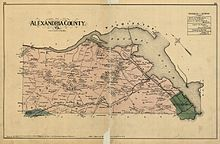 """Map labeled """"Alexandria County"""" on old yellowed paper, with Potomac River along upper right"""