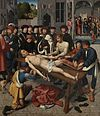 Gerard David - The Judgment of Cambyses, panel 2 - The shedding of the corrupt judge Sisamnes.jpg