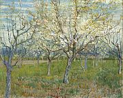 A painting of a blossoming orchard of trees under a bright blue sky.