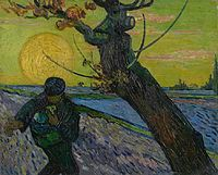 A man sowing seeds in front of a giant sun going down near a large tree