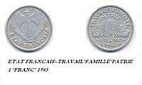 1 franc, Vichy regime