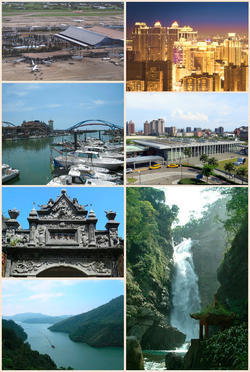 From left to right, top to bottom: China Airlines passenger plane at Taoyuan International Airport, Taoyuan district, Yong'an Fishing Port, HSR Taoyuan Station, Baroque architecture on Daxi Old Street, Shihmen Reservoir, Little Wulai Waterfall