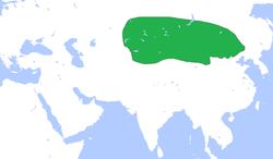 约前250年左右匈奴的疆域(图中绿色)