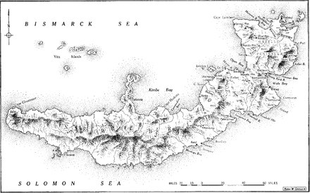 Black and white map of the island of New Britain, with key locations and features