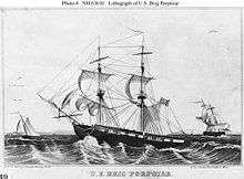 Sketch of a ship with sails at sea
