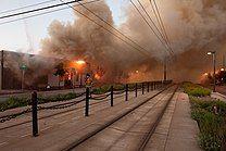 Burning buildings in Saint Paul, Minnesota on May 29