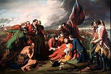Painting of General Wolfe dying in front of the British flag while attended by officers and native allies
