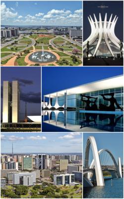 从顶部顺时针:纪念轴、巴西利亚大教堂、阿尔瓦瑞达宫、儒塞利诺·库比契克大桥、南部城市群和巴西国民议会大楼