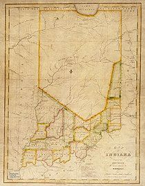 A crude map of Indiana with only a handful of southern counties delineated