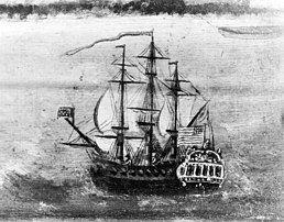 A sail warship at sea flying a US flag.