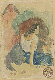 Watercolor monotype showing two women, one with her back to the viewer