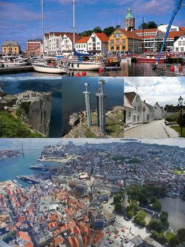 顶部:瓦尔堡塔和Kartblad滨水区,左中:Ryfylke区的布道石,中:哈弗斯峡湾战役纪念碑,中右:Gamle区,底部:沃根和斯塔万格区