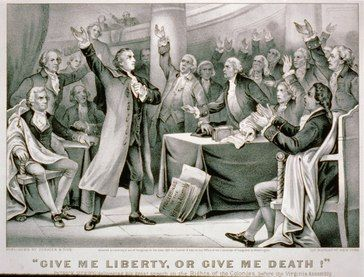 """Scene from the Second Virginia Convention, Patrick Henry giving his speech, """"Give me liberty or give me death!"""""""