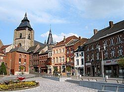 """The Saint-Vincent collegiate church[fr] (10th century) and the square on the """"Place Verte"""""""