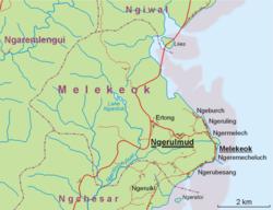 恩吉鲁穆德在梅莱凯奥克州的位置