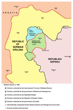 地图显示了塞尔维亚克拉伊纳共和国和斯普斯卡共和国之间的西波斯尼亚(青色)的位置。