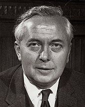 A portrait photograph of Harold Wilson