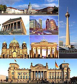 顺时针:夏洛滕堡宫、柏林电视塔、德国国会大厦、柏林大教堂、旧国家画廊、波茨坦广场及勃兰登堡门。