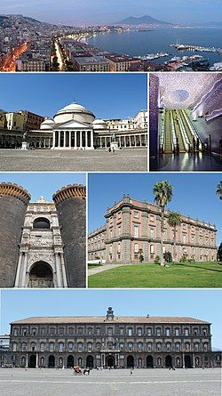 Top: Panorama view of Mergellina Port, Mergellina, Chiaia area, over view of Mount Vesuvius, Second left: Piazza del Plebiscito Second right: Toledo metro station Third left: Castel Nuovo, Third right: Museo di Capodimonte, Bottom: View of Royal Palace of Naples
