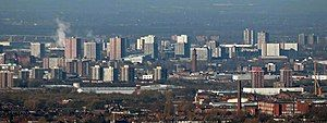 Image of the skyline of Salford, from a distance