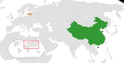 People's People's Republic of China和Latvia在世界的位置